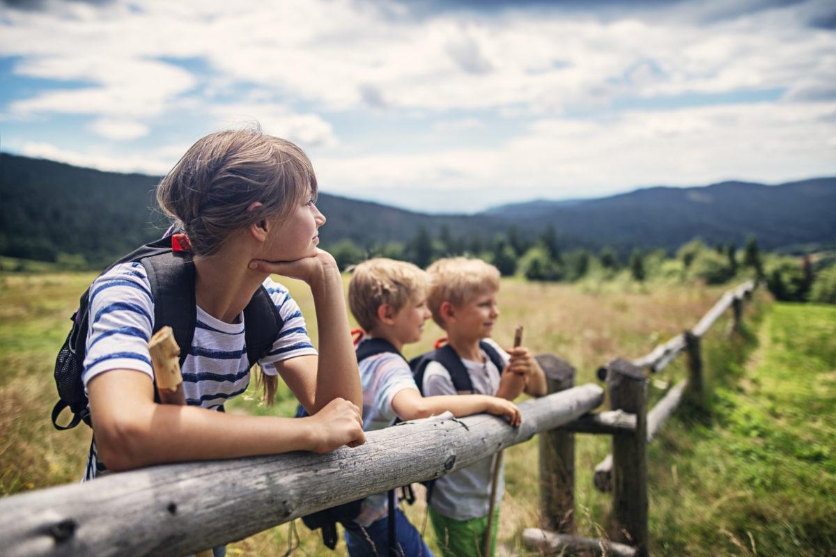 3 children leaning on farm fence